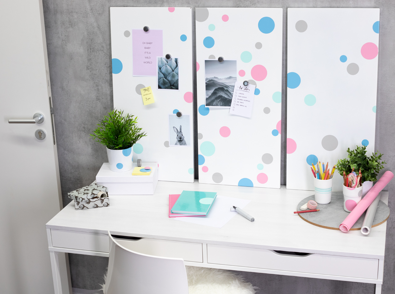 dcfix Möbel Klebefolie Dekofolie DIY Deko Kinderzimmer Pastell Schreibtisch