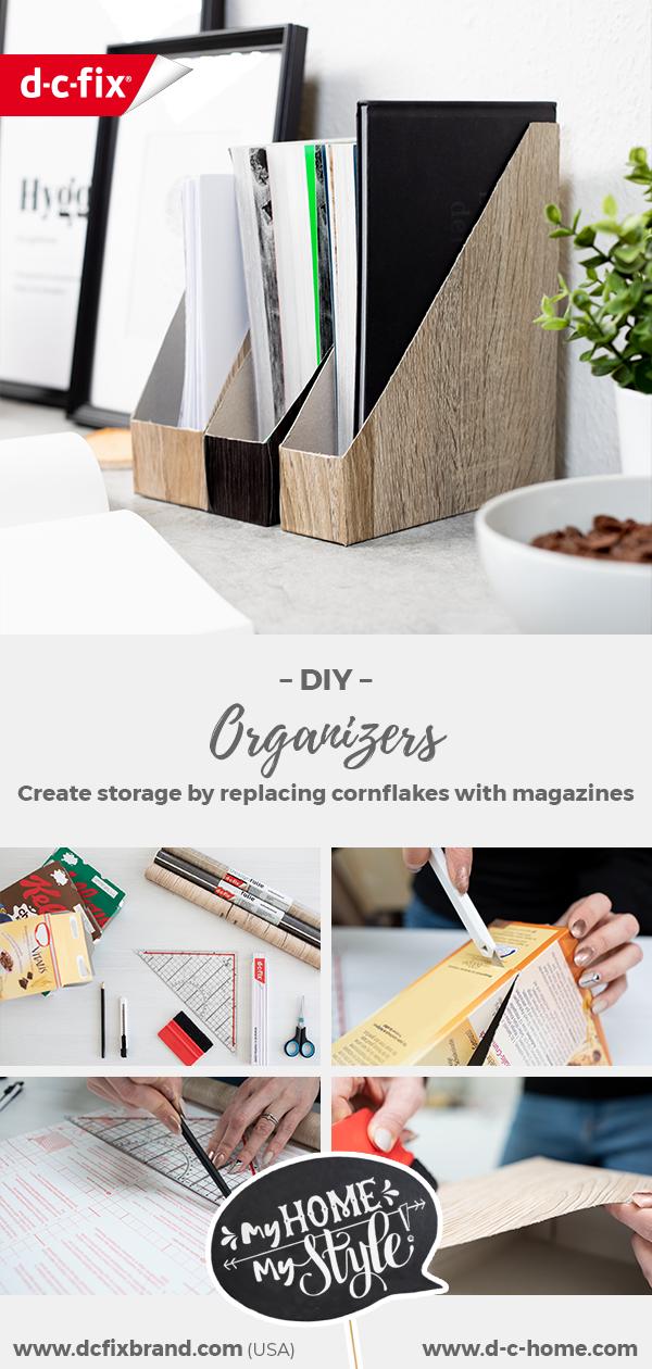 DIY Stehsammler für Zeitschriften durch Upcycling von Cornflakes Kartons mit Klebefolie