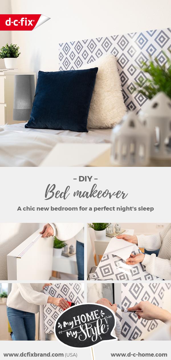 Bett mit d-c-fix® Folie im geometrischen Design beklebt