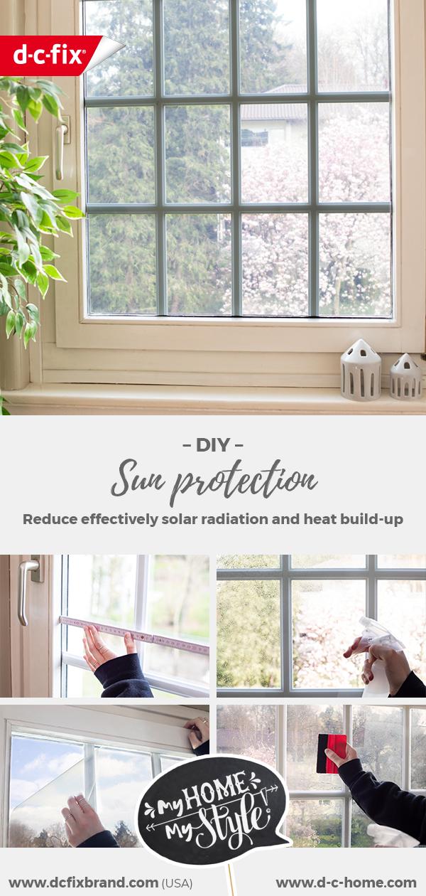 Ein mit d-c-fix® statischer Sonnenschutzfolie beklebtes Fenster zur wirksamen Reduktion von Sonneneinstrahlung und Wärmeentwicklung.