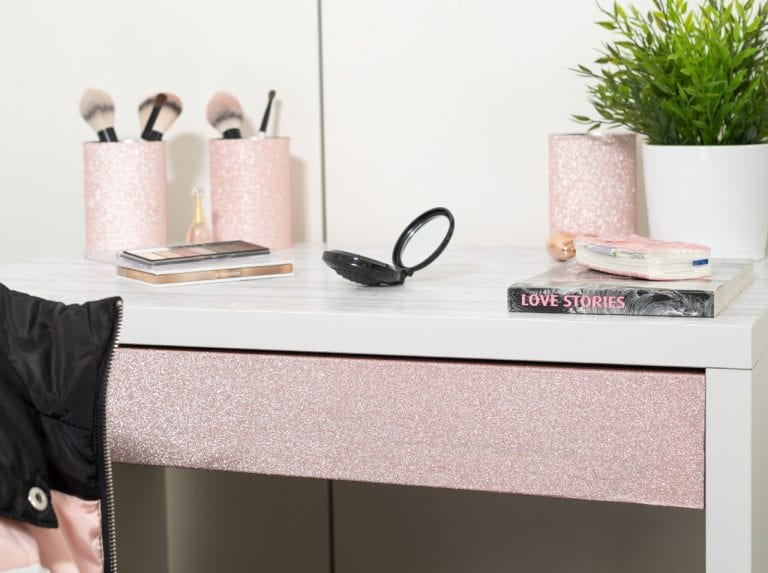 DIY upcycling: redesigned vanity table with Shabby Wood and Glitter Rose d-c-fix® adhesive foils