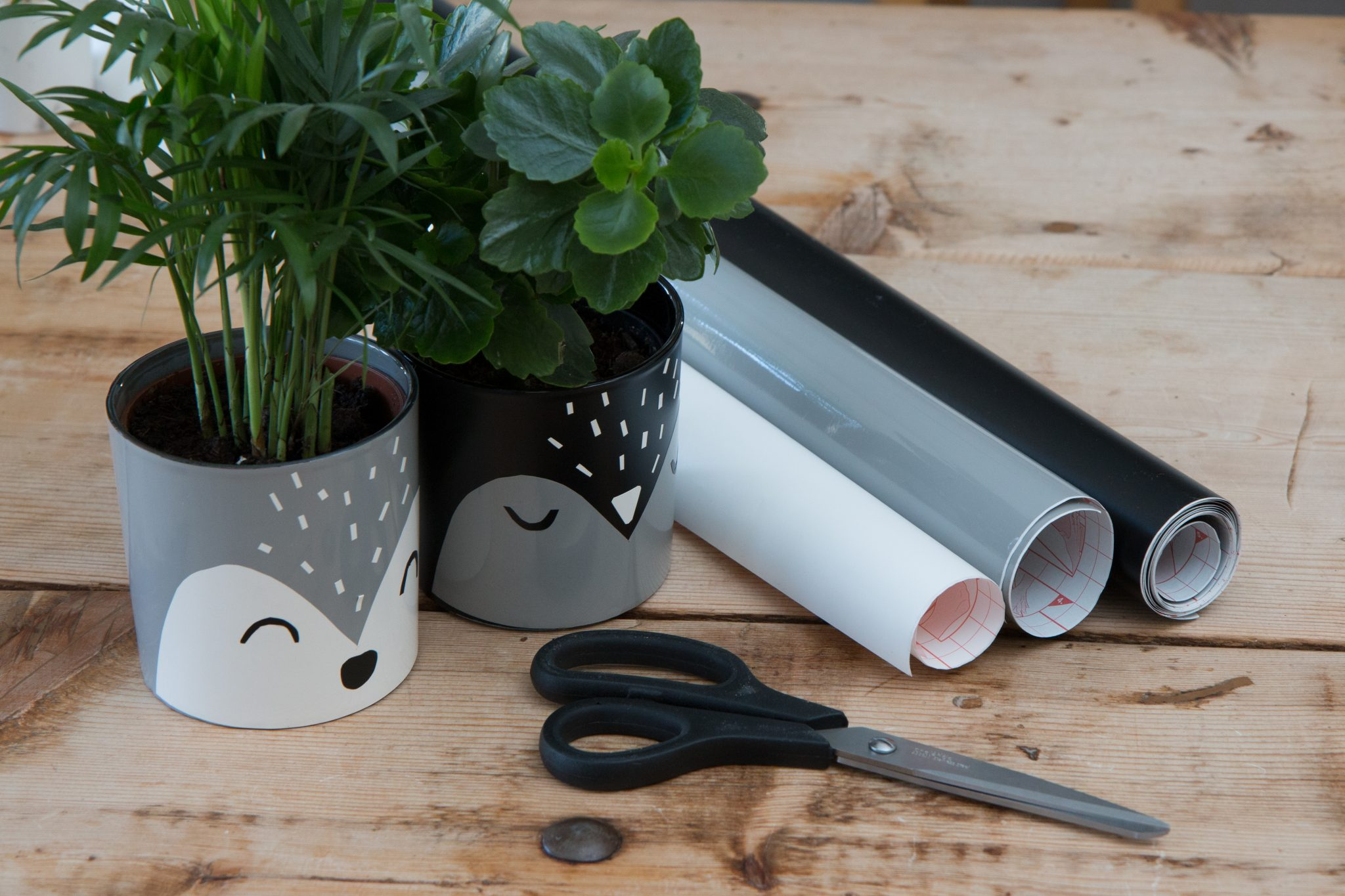 Flowerpots with animal faces from d-c-fix® adhesive foils