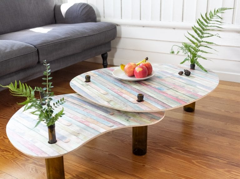 Upcycling with d-c-fix - DIY table with empty bottles as table legs