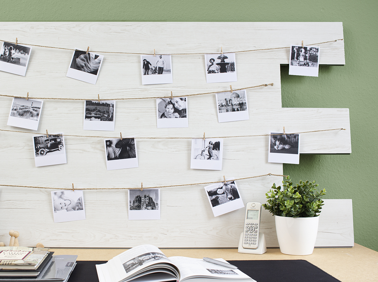 With Tile Art plank wall tiles in Pino Aurelio effect, DIY photo wall decorated with photos.