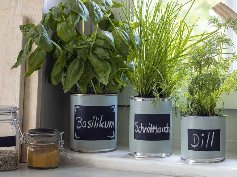 Barattoli di latta ripensati come vasi per erbe aromatiche con la pellicola adesiva d-c-fix® Sage e la pellicola lavagna.