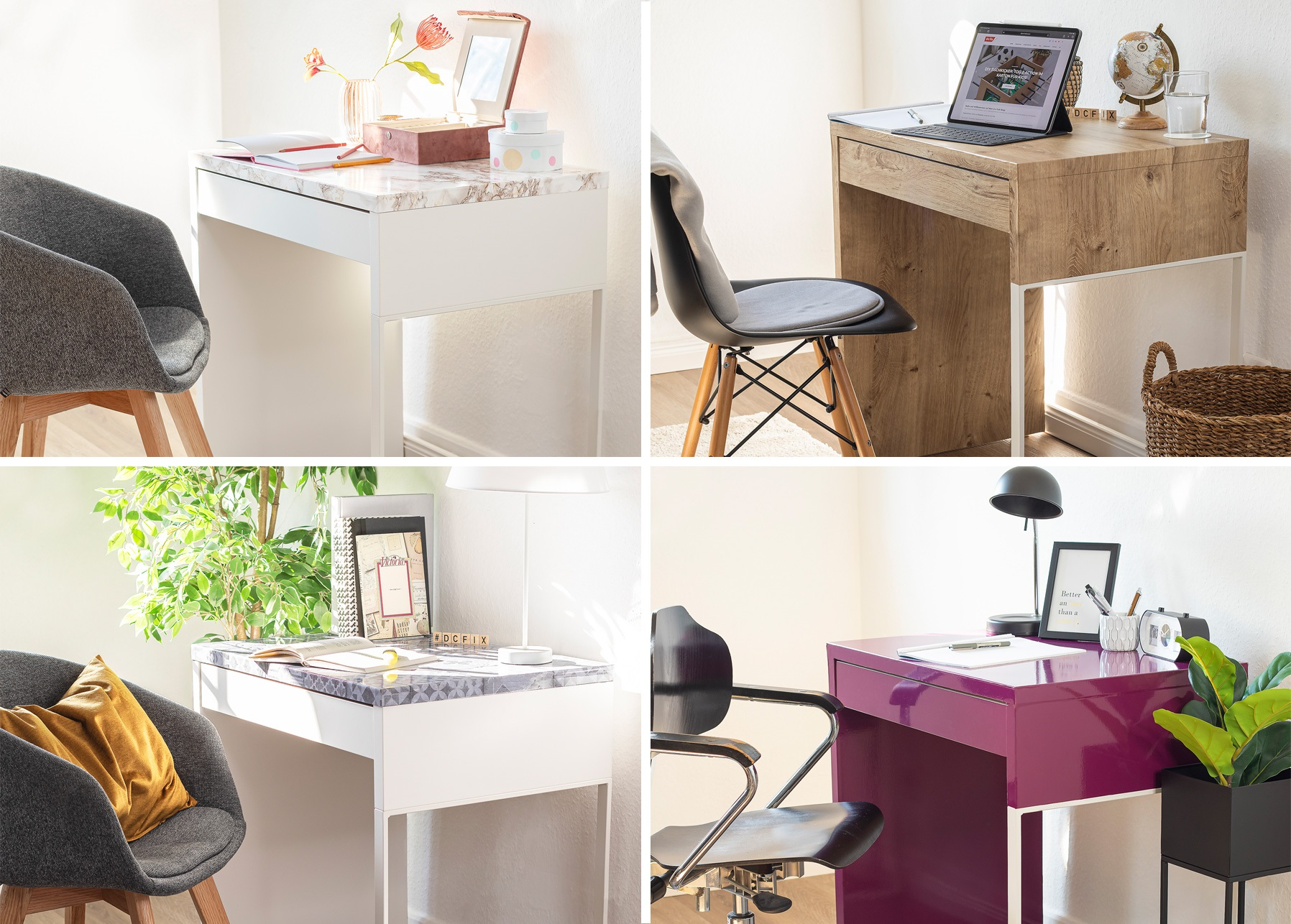 Desk re-styled with four different adhesive foils and shown in four styling variants.